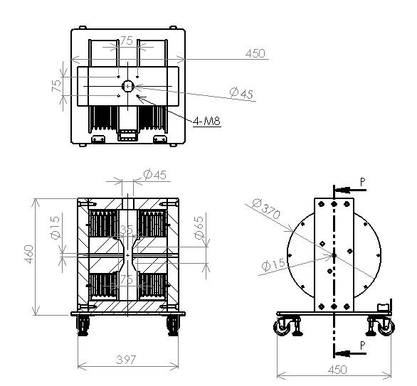 光学用電磁石(縦型・クライオスタット取付穴付)(1)
